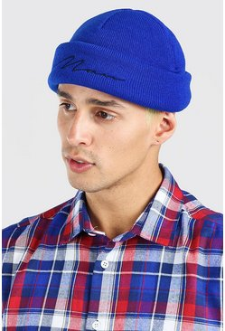 Bright blue MAN Script Mini Beanie