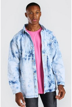 Blue Oversized Bleached Denim Overshirt With Pocket