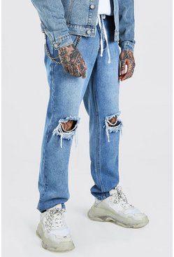 Light blue Relaxed Fit Back Print & Busted Knees Jeans