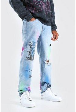 Light blue Relaxed Fit Graffiti Print Chain Jean