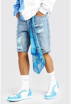 Light blue Distressed Denim Paint Splatter Short