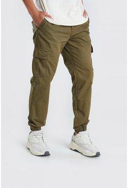 Khaki Elastic Waist Slim Fit Cargo Pants