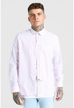 Chemise coupe oversize en popeline, Lilas