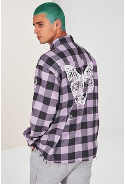 Lilac MAN Official Butterfly Print Check Shirt