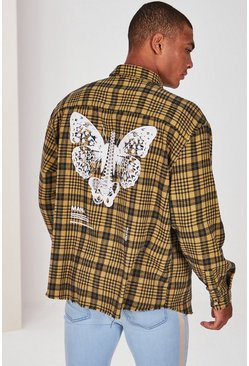 Yellow MAN Official Butterfly Print Check Shirt