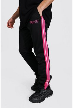 Black Regular Official Man Tape Tricot Joggers