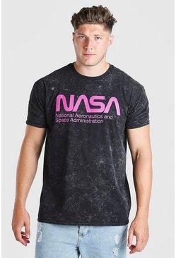Charcoal Big And Tall NASA Acid Wash License T-Shirt