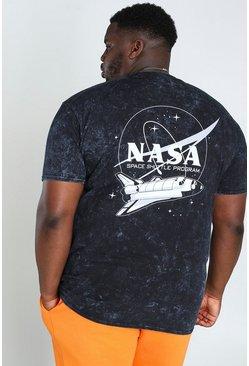 Charcoal Plus Size NASA Acid Wash License T-Shirt