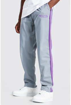 Grey Regular Official Man Tape Tricot Joggers