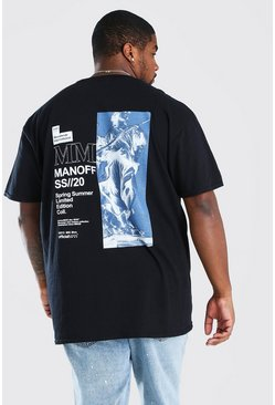 Black Big And Tall MAN Statue Back Print T-Shirt