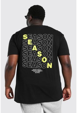 Black Big And Tall Season Repeat Back Print T-Shirt