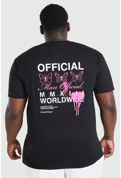 Black Big And Tall Butterfly Back Print T-Shirt