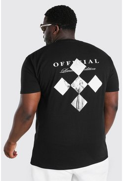 Black Big And Tall Official Statue Back Print T-Shirt