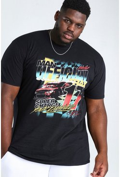 Black Big And Tall MAN Official NASCAR Print T-Shirt