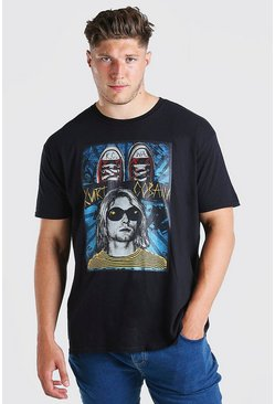 T-shirt Big And Tall Kurt Cobain officiel, Noir