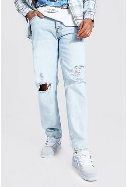 Ice blue Relaxed Fit Jean With Knee Rips