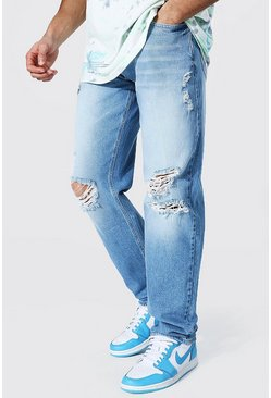 Mid blue Relaxed Fit Jean With Knee Rips