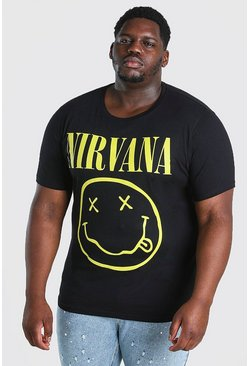 Black Big And Tall Nirvana Logo License T-Shirt