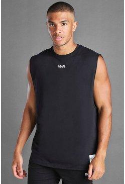 Black MAN Loose Fit Tank With Man Branded Tab