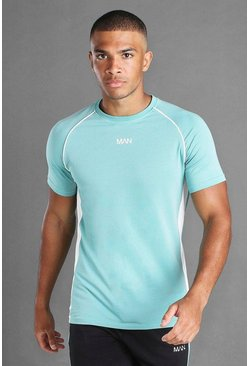 Green MAN Muscle Fit Raglan T-Shirt With Piping