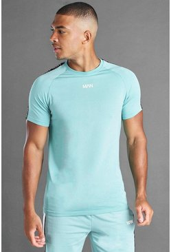 Green MAN Muscle Fit Raglan T-shirt with Tape Detail