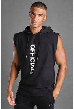 Black MAN Sleeveless Hooded Sweater