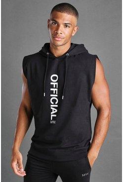 Black MAN Sleeveless Hooded Sweater