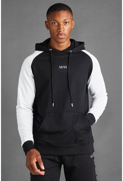 Black MAN Hoodie With Contrast Sleeves
