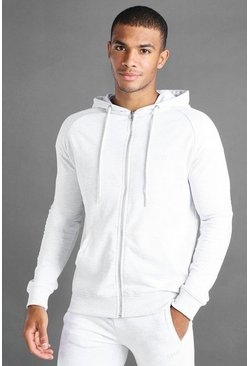 Ecru MAN Skinny Jersey Zip Through Hoodie With Panels