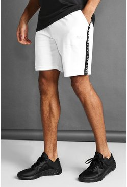 White MAN Mid Length Shorts With Tape Detail