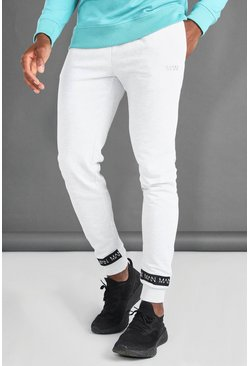 Ecru MAN Joggers With Man Tape Cuff