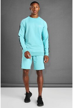Aqua Sweater And Short Set With Side Tape