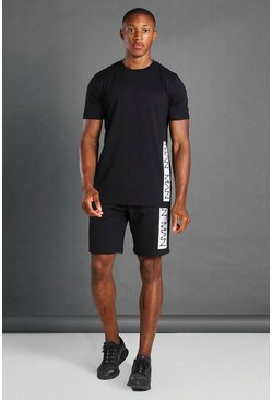 Black T-Shirt And Short Set With MAN Branded Panel