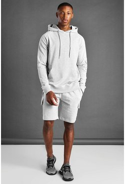 Grey Cargo Short And Hoodie Set