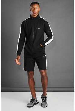 Black Zip Through Side Panel Funnel Neck And Short Set