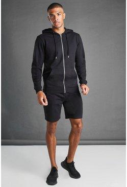 Black Hooded Zip Through Short Set
