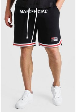 Black Big And Tall MAN Waistband Short With Tape