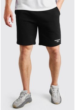 Black Big And Tall MAN Double Waistband Jersey Short