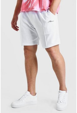 White Plus Size MAN Script Towelling Pintuck Short