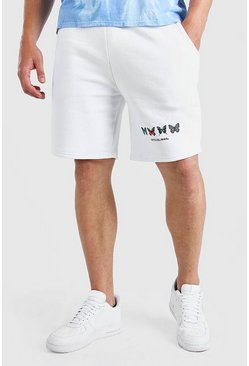 Big And Tall Jersey-Shorts mit MAN-Schmetterling-Print, Weiß