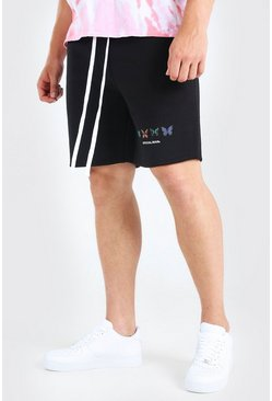 Black Big And Tall MAN Butterfly Print Jersey Short