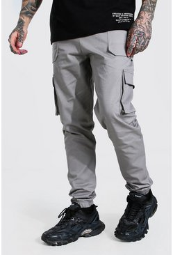 Light grey Twill Belt Front Cargo Jogger With MAN Tab