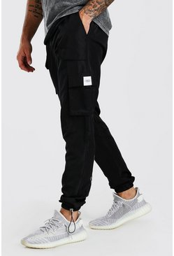 Black Official Man Shell Cargo Pants With Bungee Cords