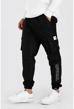 Black Shell Belted Cargo Trousers With Branded Cuffs