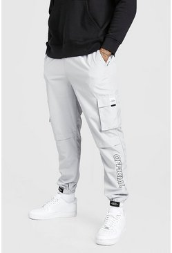 Light grey Shell Belted Cargo Trouser With Branded Cuffs