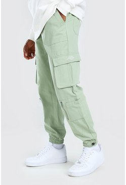 Mint Twill Multi Pocket Cargo Trouser With Bungee Cords
