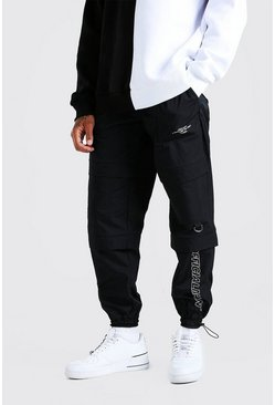 Black Official Man Peached Shell Pocket Cargo Pants