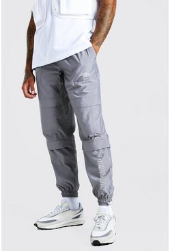 Grey Official Man Peached Shell Pocket Cargo Pants