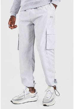 Light grey MAN Official Shell Jogger With Bungee Cords