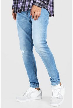 Mid blue Skinny Fit Jean With Abrasion